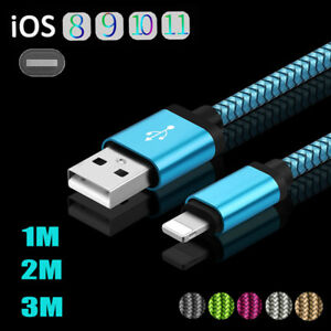 3-10ft-iOS-Braided-Woven-Strong-Sync-Data-Cable-Charging-For-iPhone-5-6-7-8-Plus