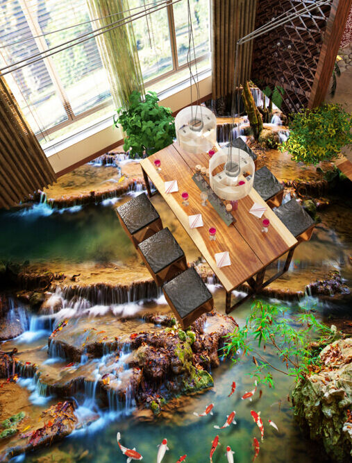 3D Wasser Goldfisch Stein 5 Fototapeten Wandbild Fototapete BildTapete FamilieDE