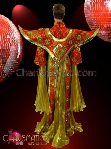 CHARISMATICO Gold Pleated Red and Amber Accented Chinese Imperial Court Costume