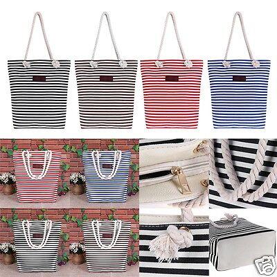 Women Ladies Casual Shopping Handbag Canvas Shoulder Bag Tote Striped Beach Bag