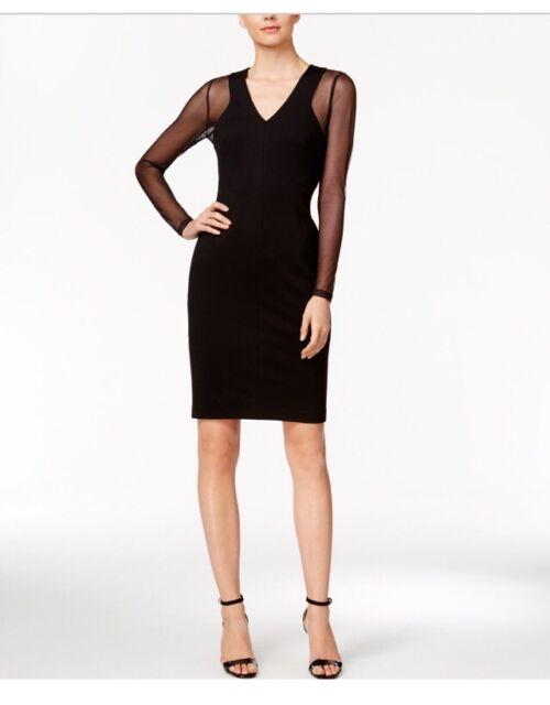 5cf104e05516b Calvin Klein Black Compression Illusion Mesh 10-12-14-16 Sheath Ponte Dress