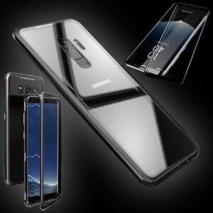 Pour-Samsung-Galaxy-S9-AIMANT-Etui-Noir-Transparent-0-3-4D-H9-Verre-COQUE