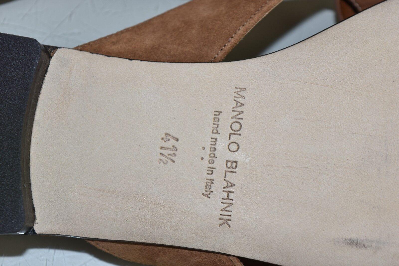 NEW Manolo Blahnik PETALA 3 D Camellia marron Suede Suede Suede Sandals Slide chaussures 41.5 ccef51
