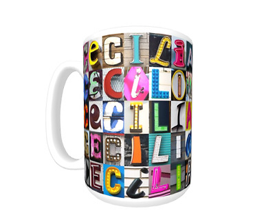 CECILIA Coffee Mug Cup featuring the name in photos of actual sign letters