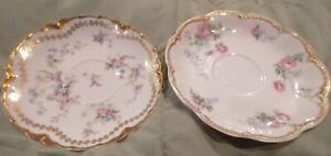 """Haviland Limoges Schleiger Pink Rose Purple Floral Gold 4 5/8"""" Saucers (2)"""