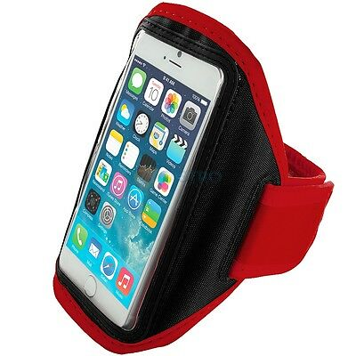 """Iphone 6 (4.7"""") Red Padded Arm Band Mobile Phone Holder For Running, Jogging"""