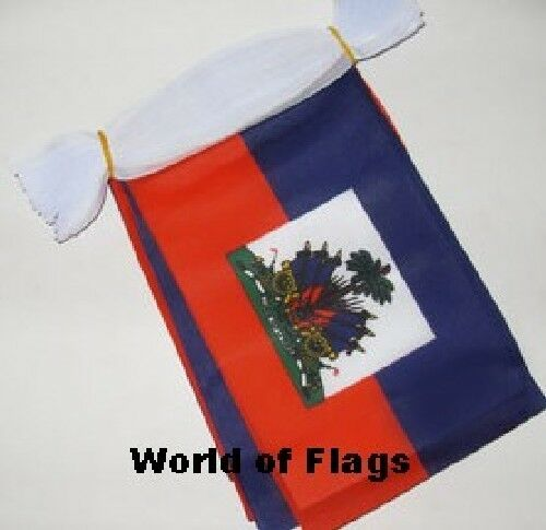 HAITI BUNTING 9m 30 Polyester Fabric Haitian Crest Party Flags Caribbean