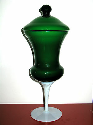 Vintage Huge Italian 60s Green Cased Opal Glass Apothecary Jar era.Empoli