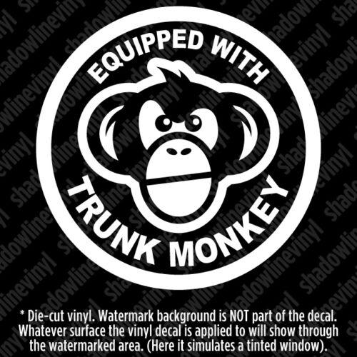 Équipé de Trunk Monkey Autocollant Vinyle Autocollant bouton Funny meme Chimpanzé JDM