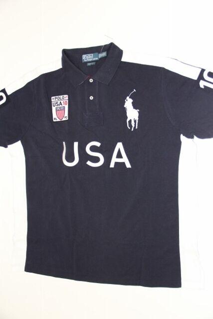 Polo Ralph Lauren Men Navy Shirt Big Pony USA Flag XLarge  XL CUSTOM FIT