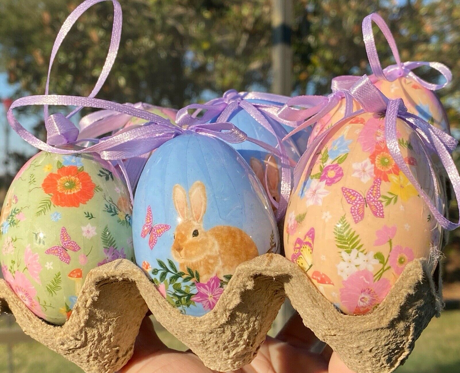 WATINC 28Pcs Easter Felt Ornaments Set Easter Egg Bunny Chick Felt Hanging Decorations Easter Party Supplies Cutouts Felt Hanging Ornaments with Rope for Tree Door Window Home Party Decor