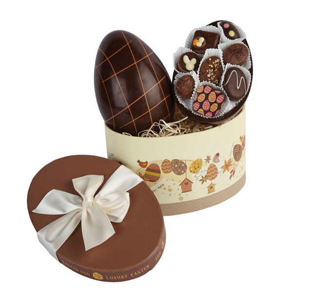 Luxury Plain Chocolate Egg in Brown Egg Box - Super Easter Gift!!