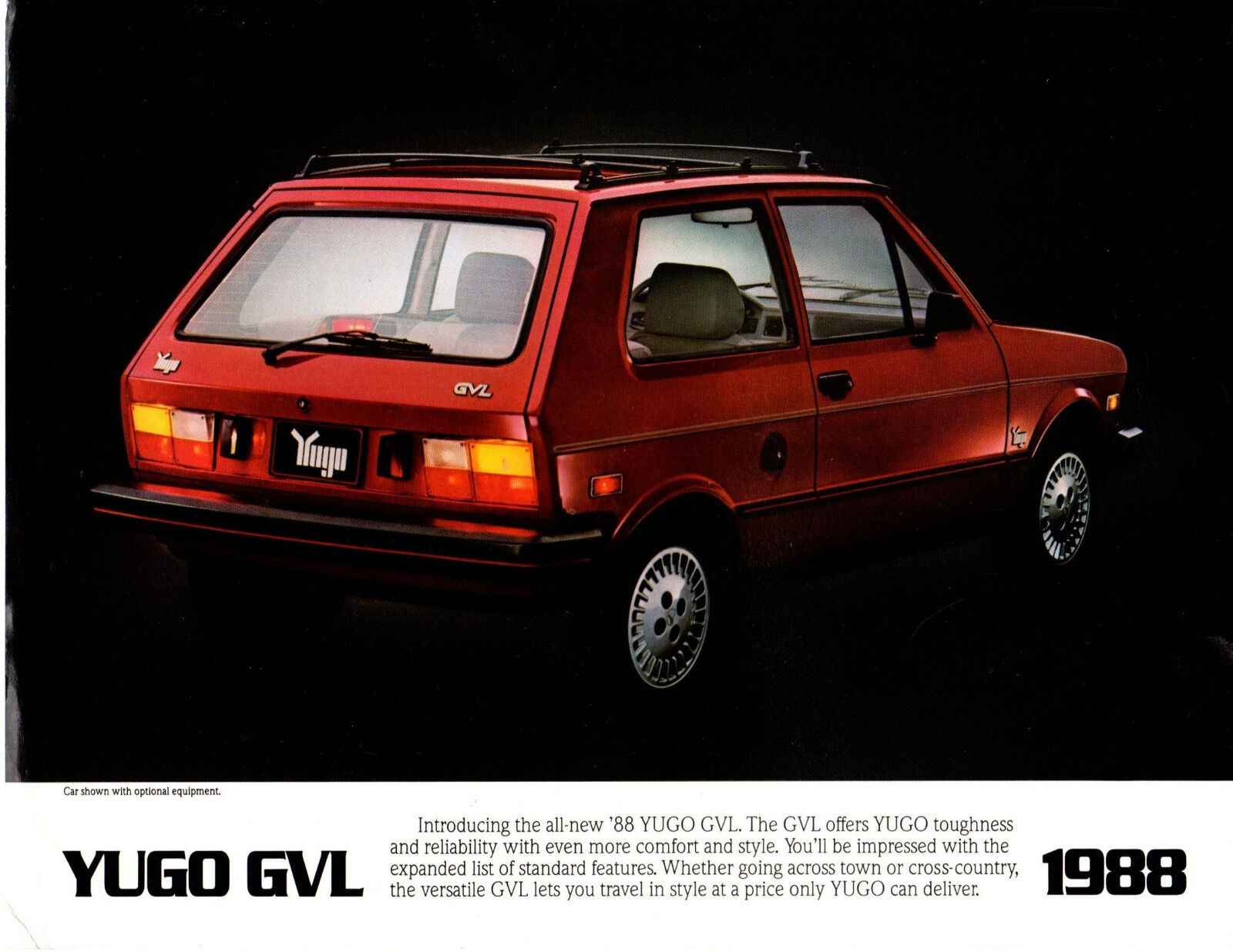1986 Yugo GV Fiat based 127 Original Car Postcard like 1-page Brochure Card