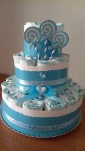 Torta di pannolini GRANDE -40pz LOLLIPOP colore azzurro o rosa