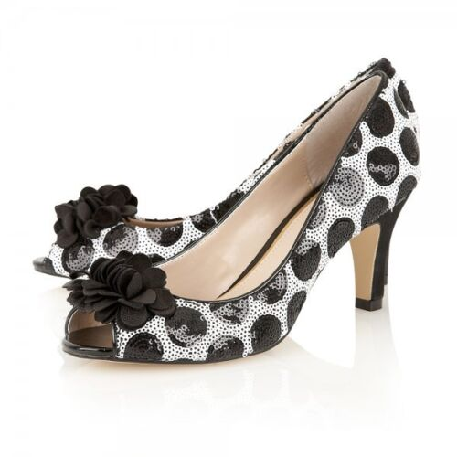Lotus Enhance Black and White Sequin & Suede Court Shoes