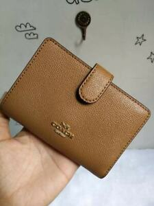 Authentic-Coach-Medium-Corner-Zip-Wallet-In-Crossgrain-Leather-F11484-Khaki