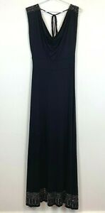 Charlie-Brown-Womens-Black-Sleeveless-Long-Dress-with-Tie-Belt-Size-12