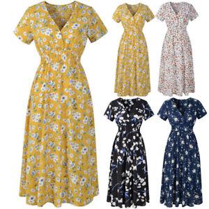 Women-039-s-V-Neck-Floral-Chiffon-Short-Sleeve-Casual-Party-Vintage-Boho-Maxi-Dress