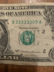 2017 $1 Federal Reserve Note with Fancy SIX IN A ROW Serial # Uncirculated