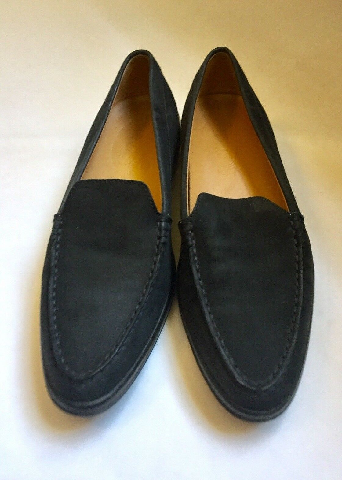 Tods Black Leather Round Toe Slide On Flats Loafers Size 8.5