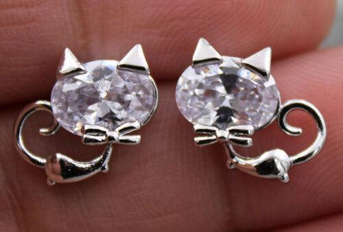 18K or blanc rempli-Chat Chaton Triangle oreilles nœud ovale Topaz Parti Boucles d/'oreilles