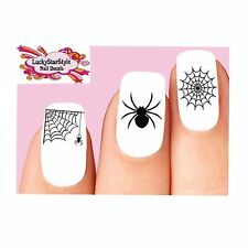 Waterslide Nail Decals Art Set of 20 - Halloween Black Spider Web Assorted