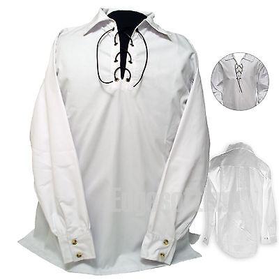Onesto Scottish Bianco Giacobino Giacobita Ghillie Camicia In Cotone Per Kilt 38-48 Pollici Petto-mostra Il Titolo Originale Aspetto Estetico