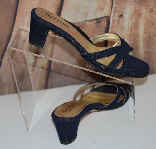 tacco Gold Shimm Heel Taryn Block 8us con Blue 38 Denim Rose Like Sz Slides Sandali H6OTv6p