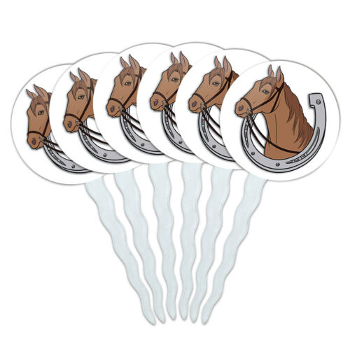 Set of 6 Cupcake Picks Toppers Decoration Horse Horses