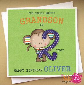Image Is Loading Personalised Birthday Card Cheeky Monkey Son Nephew Grandson