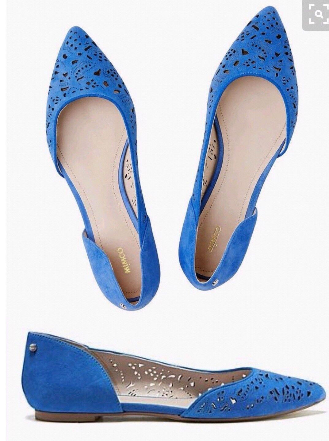 Mimco New Venice Blue Leather Romantico Flats Sandals Shoes Ballets 36 Or 5 $199