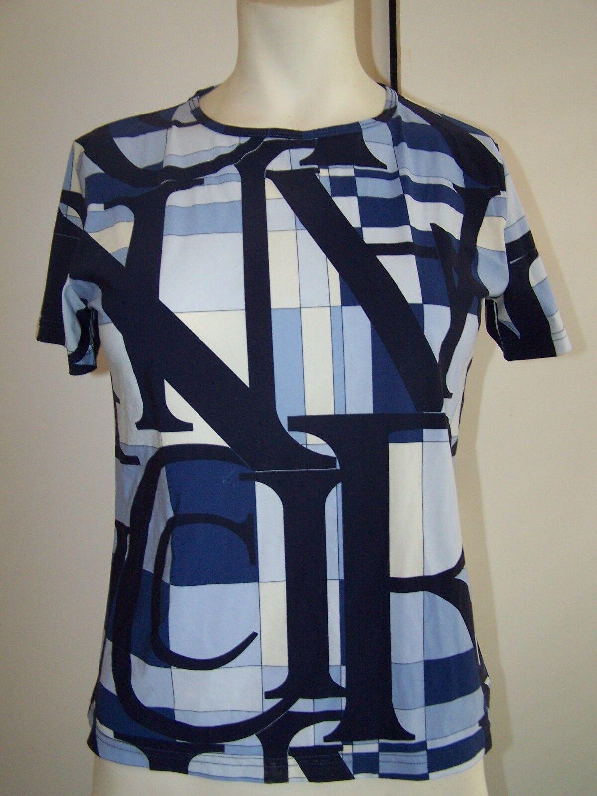 Nina Ricci Block Letters Blau Multi Hue Tee Shirt Top 46  US 8 10