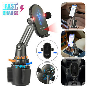 Qi Wireless Charger Car Cup Holder Mount Fast Charging Stand Dock for Cell Phone