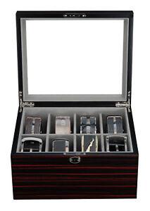Image Is Loading 8 Belt Display Case Black Wood Ties Mens