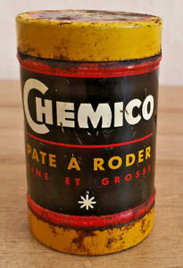 Ancienne-Boite-Publicitaire-Chemico-Pate-a-Roder-Fine-Pleine-Jaune-Rouge-Noir
