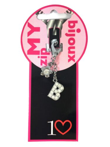 Silver Crystal Zip Zipper Pull Replacement Extension Charm Initial LETTER B