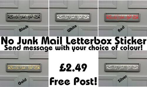 No junk mail letterbox autocollant fenêtre, porte entrée front porte