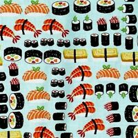 Sushi Japanese Sushi Rolls And Sashimi Blue Cotton Fabric Fat Quarter