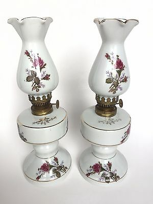 "Tilso Pair Hand Painted Pink Roses Kerosene Oil Lanterns Lamps Two 10"" Hi Japan"