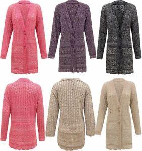 Women-Ladies-Knitted-2-Tone-Cable-2-Button-Boyfriend-Crochet-Cardigan-Top-Plus