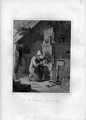 Stampa antica UOMO CHE PULISCE LE SUPPELLETTILI di casa 1852 Old Print Engraving