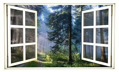 "24"" Window Scape View Forest Trees #1 Wall Decal Graphic Sticker Art Mural NEW"