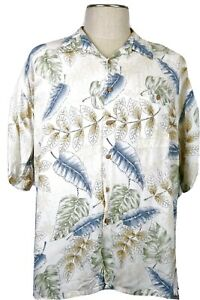 Paradise-Collection-Men-039-s-XXL-Hawaiian-shirt-white-with-leaves-and-palms-Nice