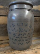 WILLIAMS & REPOERT 1 Gallon STONEWARE DECORATED 1 GALLON JAR AS MADE CONDITION.