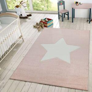 Détails sur Tapis Enfant Chambre Enfant Moderne 3D Étoile Tapis De Jeux  Pastel Rose Blanc