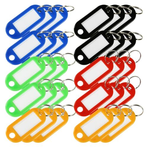 HMF Schlüsselanhänger mit Schlüsselring Plastik Anhänger Beschriftungsstreifen