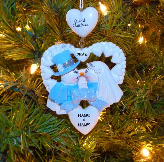 our first christmas wedding couples personalized christmas wedding ornament - Couples First Christmas Ornament