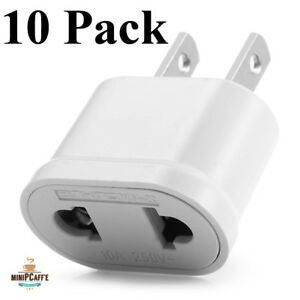 10 Pack Quality EU Euro Europe to US USA AC Power Plug Converter Travel Adapter