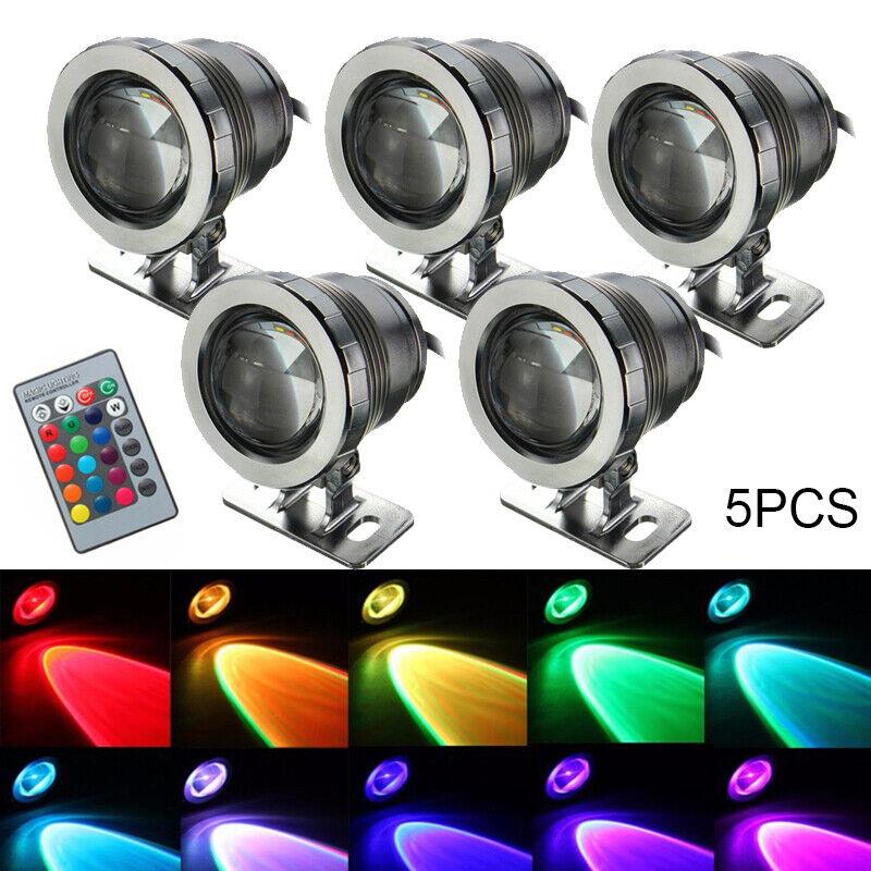 10 5 2X 20W RGB LED Aquarien Unterwasser Strahler Teichbeleuchtung Lampe Teich