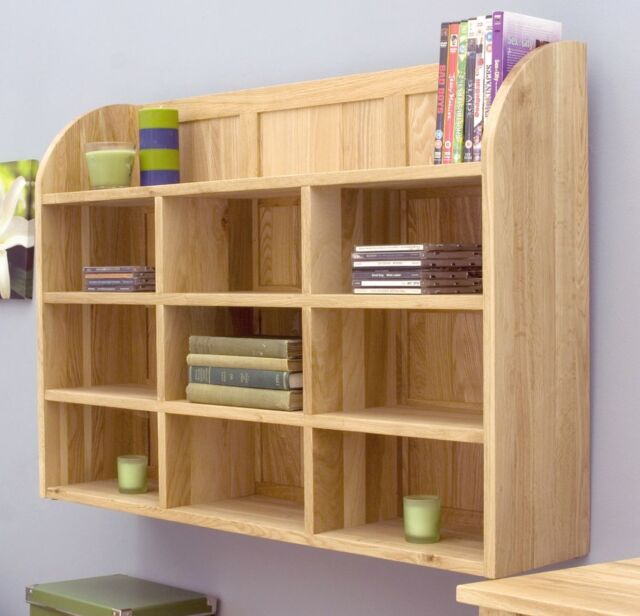 mobel cd dvd rack storage wall mounted solid oak office furniture